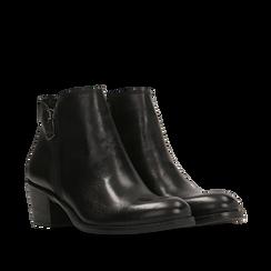 Tronchetti neri punta western, tacco 3 cm, Primadonna, 128900470VINERO036, 002a