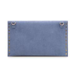 Pochette borchiata azzurra in microfibra, Borse, 133302219MFAZZUUNI, 003 preview