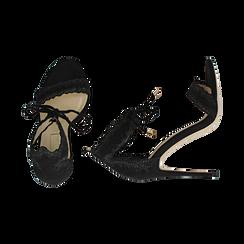 Sandali neri in microfibra, tacco 11 cm, Primadonna, 152122111MFNERO038, 003 preview