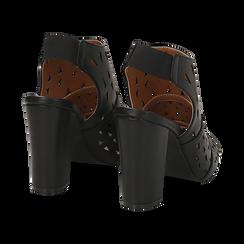 Sandali traforati neri in eco-pelle, tacco 10 cm, Sandali con tacco, 136383055EPNERO036, 004 preview