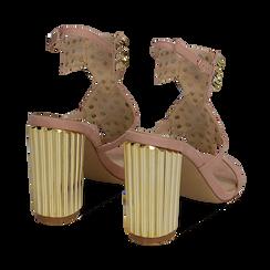 Sandalias en microfibra tachonada color nude, tacón 10 cm , OPORTUNIDADES, 152183131MFNUDE036, 004 preview