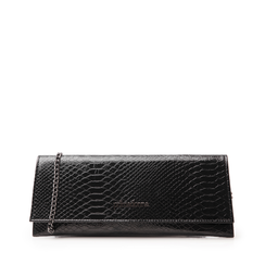 Pochette piatta nera in laminato, Primadonna, 145122509LMNEROUNI, 001a