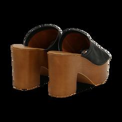 Mules nere in eco-pelle, tacco 9 cm , Primadonna, 134956581EPNERO035, 004 preview