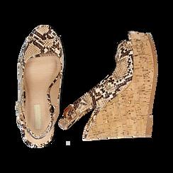 Sandali platform beige in eco-pelle, effetto snake skin, zeppa in sughero 12 cm , Primadonna, 134900982PTBEIG, 003 preview