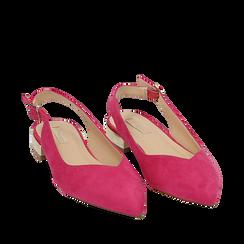 Slingback plate fushia en microfibre, Chaussures, 154987411MFFUCS035, 002a
