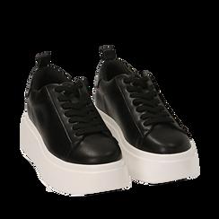 Zapatillas color negro, cuña 6,50 cm , Primadonna, 167505101EPNERO037, 002a