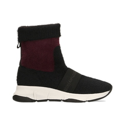 Sneakers nero-rosse sock boots con suola in gomma bianca, Primadonna, 124109763TSNERS036, 001 preview