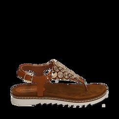Sandali infradito cuoio in eco-pelle , 154927051EPCUOI035, 001a
