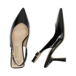 Slingback negro de charol, tacón 8 cm,  Zapatos, 174823795VENERO037, 003 preview