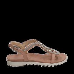 Sandali nude in microfibra con strass, Chaussures, 154928123MPNUDE039, 001a