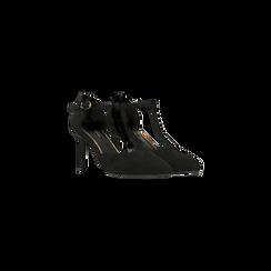 Décolleté nere con cinturino a T, tacco 5 cm, Scarpe, 124820729MFNERO, 002 preview