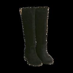 Stivali neri in camoscio con decoro metallico, Primadonna, 16A500090CMNERO036, 002 preview