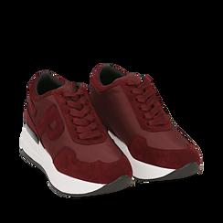 Sneakers bordeaux in tessuto tecnico, suola 5,50 cm , Scarpe, 142898983TSBORD035, 002a