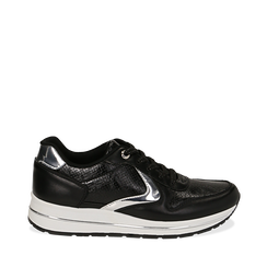 Sneakers nere in eco-pelle , 139300005EPNERO, 001a