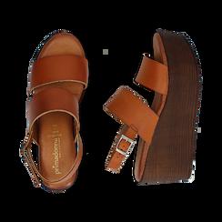 Sandali platform cuoio in eco-pelle, zeppa 8 cm, Saldi, 136700012EPCUOI037, 003 preview