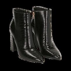 Ankle boots neri stampa cocco, tacco 9,5 cm , Stivaletti, 142186672CCNERO035, 002a
