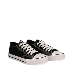 Sneakers nere in canvas, Scarpe, 137300862CANERO035, 002a