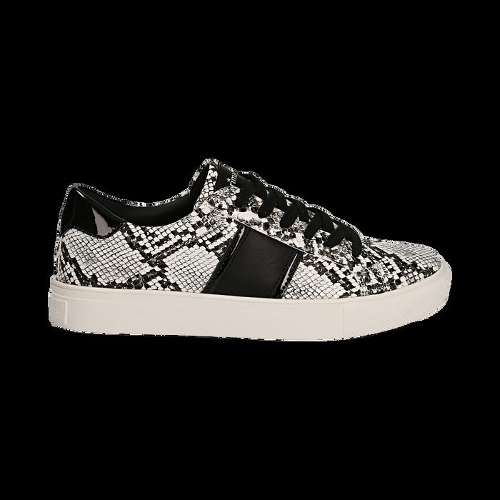 Sneakers bianco/nere in eco-pelle, effetto snake skin, Scarpe, 142619071PTBINE035
