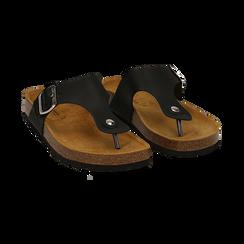 Zeppe nere in eco-pelle con suola in sughero, Scarpe, 136785202EPNERO037, 002 preview