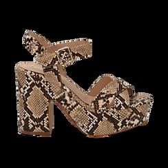 Sandali con plateau beige in eco-pelle, effetto snake skin, tacco 11 cm , Sandali con tacco, 134903269PTBEIG036, 001 preview
