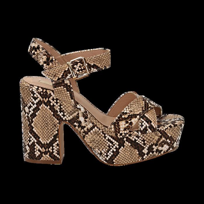 Sandali con plateau beige in eco-pelle, effetto snake skin, tacco 11 cm , Sandali con tacco, 134903269PTBEIG035