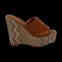 Mules platform cuoio in eco-pelle, zeppa intrecciata 13 cm, Primadonna, 132117214EPCUOI035, 001 preview