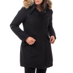 Piumino con cappuccio nero in nylon, Abbigliamento, 148500598NYNERO3XL, 001a