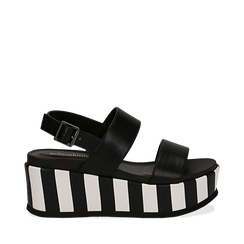 Sandali platform neri in eco-pelle, zeppa optical 7 cm , Scarpe, 134894399EPNERO037, 001a