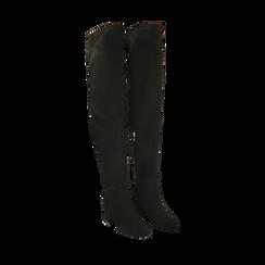Stivali overknee neri in microfibra, tacco 6,50 cm, Primadonna, 164911283MFNERO036, 002a