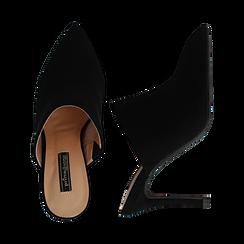 Mules nere in microfibra, tacco 9 cm, Scarpe, 134988743MFNERO036, 003 preview
