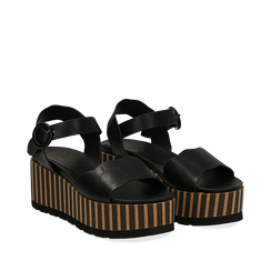 Sandali platform neri in eco-pelle, zeppa optical 7,50 cm , Primadonna, 134901231EPNERO036, 002a