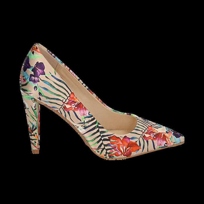 Décolleté en satén con estampado exoticos color nude, tacón 10 cm , Zapatos, 152133512RSBEIG036
