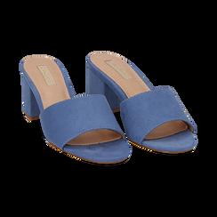 Mules azzurre in microfibra, tacco 6,50 cm , Scarpe, 134956151MFAZZU036, 002 preview