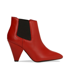 Chelsea Boots rossi in vera pelle, tacco a cono 9 cm, Primadonna, 12D613910VIROSS036, 001a