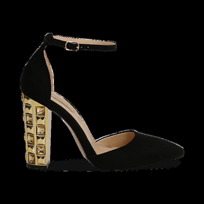 fa140c2496 Décolleté nera in microfibra con cinturino alla caviglia, tacco gioiello 12  cm