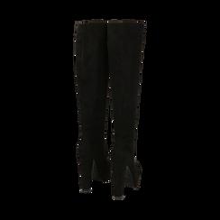 Overknee con plateau neri in microfibra, tacco 13,5 cm , Primadonna, 142103015MFNERO041, 003 preview