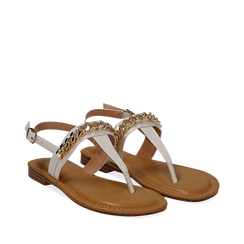 Sandali infradito bianchi in eco-pelle con catenella, Primadonna, 134988163EPBIAN035, 002a