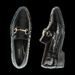 Mocasines negros con estampado de cocodrilo, Primadonna, 164964141CCNERO037, 003 preview