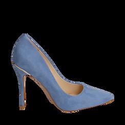 Décolleté en microfibra color azul, tacón 11 cm , Primadonna, 152146861MFAZZU035, 001a