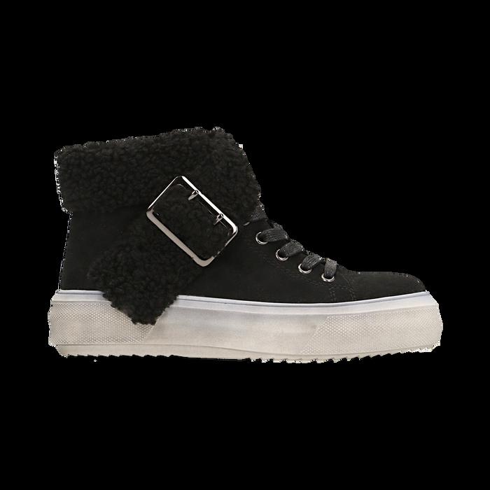 Sneakers nere con risvolto in eco-shearling, Primadonna, 124110063MFNERO