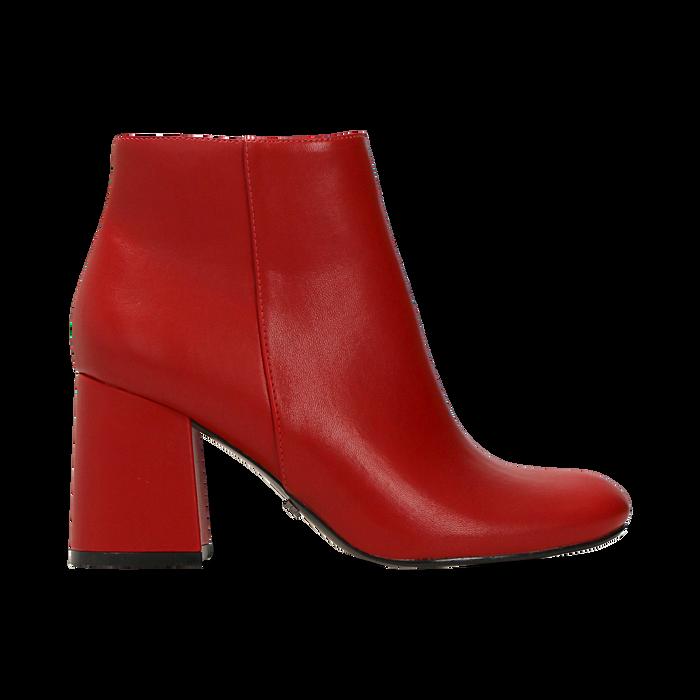 Tronchetti rossi, tacco 7,5 cm, Scarpe, 122182021EPROSS