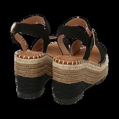 Sandali neri in microfibra, zeppa 9 cm , Scarpe, 154907131MFNERO035, 004 preview