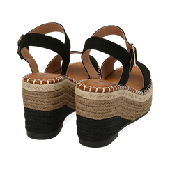 Sandali neri in microfibra, zeppa 9 cm , Chaussures, 154907131MFNERO, 004 preview
