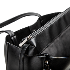 Borsa shopper nera in ecopelle con doppia zip anteriore, Borse, 122300304EPNEROUNI, 005 preview