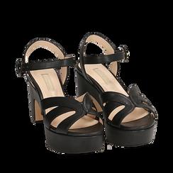 Sandalias en microfibra color negro, tacón cuña 8,50 cm, Primadonna, 158480211EPNERO035, 002a