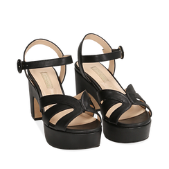 Sandali neri in microfibra, tacco zeppa 8,50 cm, Chaussures, 158480211EPNERO035, 002a