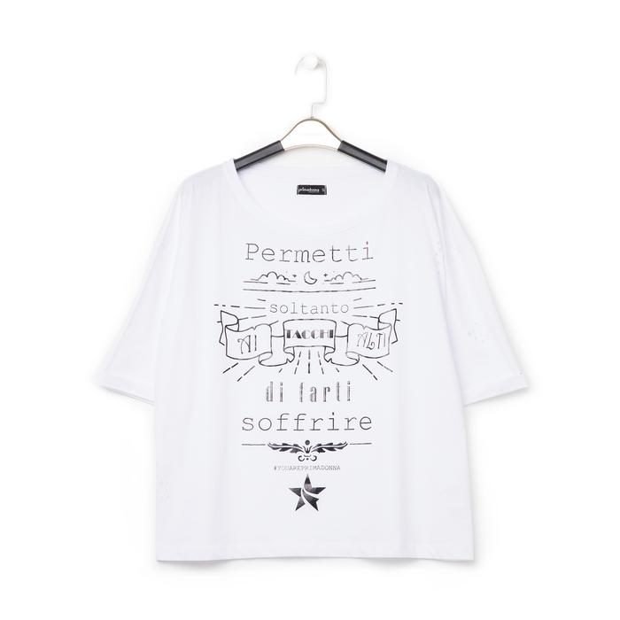 T-shirt bianca in tessuto con stampa nera minimal , Abbigliamento, 13I730072TSBIAN