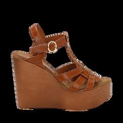 Sandali platform multilistino cuoio in eco-pelle, zeppa 12 cm , Primadonna, 132147348EPCUOI035, 001a