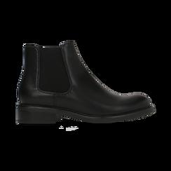 Chelsea Boots neri con tacco basso, Scarpe, 120618208EPNERO, 001 preview