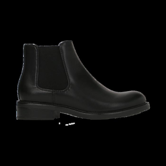 Chelsea Boots neri con tacco basso, Scarpe, 120618208EPNERO